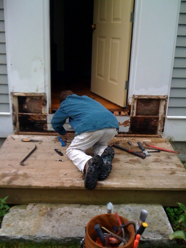 Rot repair on front door-Brimfield, MA
